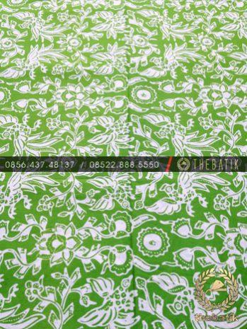 Kain Batik Bahan Baju 2 Meteran Motif Burung Ayam Hijau