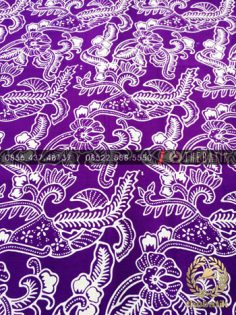 Kain Batik Bahan Baju 2 Meteran Motif Floral Kembang Ungu