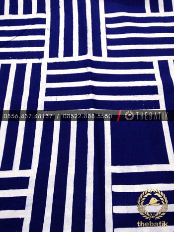 Kain Batik Bahan Baju 2 Meteran Motif Garis Anyaman Dongker