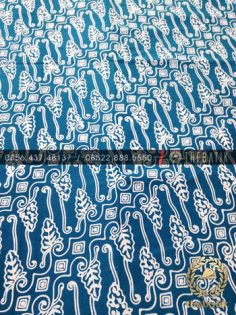 Kain Batik Bahan Baju 2 Meteran Motif Parang Biru Muda