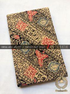 Kain Bahan Baju Batik 2 Meteran Sogan Hitam Lereng Kembang