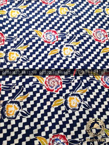 Grosir Kain Batik Seragam Coletan Biru Kembang Dadu