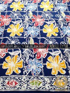 Grosir Kain Batik Seragam Coletan Biru Kembang Hawaii