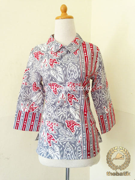 Model Baju Batik Kerja Wanita – Blus Kombinasi Garis