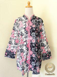 Model Baju Batik Wanita – Blus Modern Putih Pink