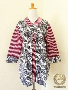 Model Baju Batik Kerja Wanita – Blus Panjang Garis