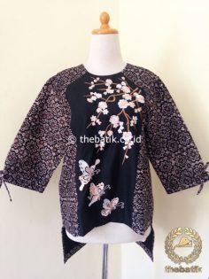 Model Baju Batik Wanita – Blus Sogan Batik Bordir Modern