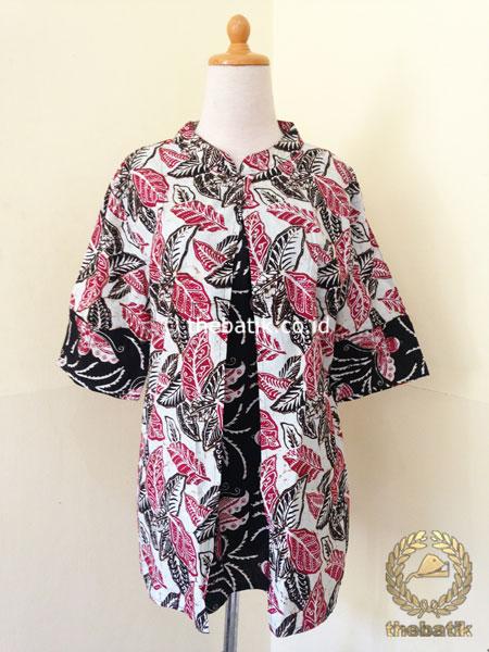 Model Baju Batik Kerja Wanita – Blus Modern 3/4