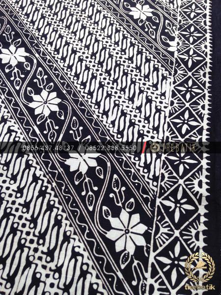Batik Monokrom Motif Parang Klithik Floral Hitam Putih
