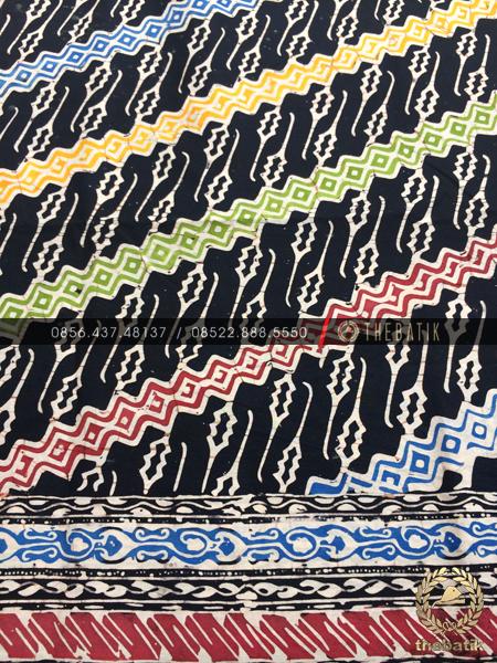 Batik Modern Motif Klasik Parang Warna-Warni Hitam