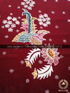 Batik Tulis Jogja Motif Kontemporer Buketan Burung Maroon