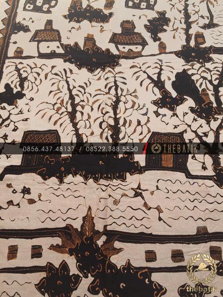 Batik Tulis Cirebon Motif Keraton Coklat Krem