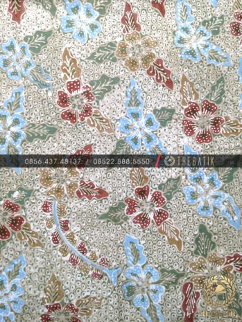 Batik Tulis Warna Alam Motif Gringsing Floral Biru Hijau