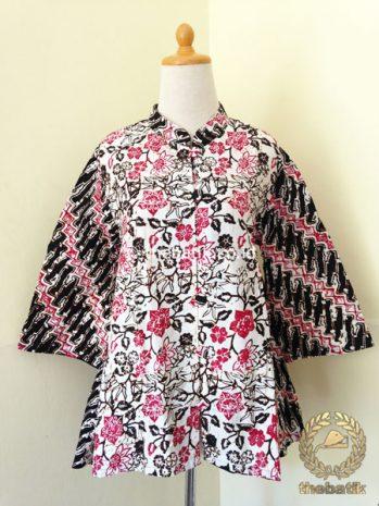 Model Baju Batik Kerja Wanita – Blus Modern Putih Pink