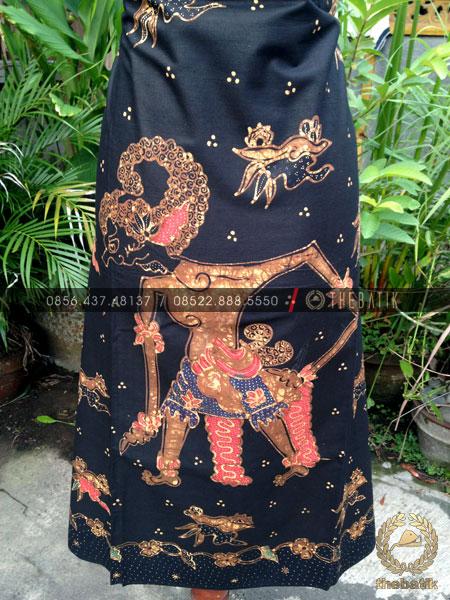Bahan Baju Batik – Kain Batik Tulis Motif Wayang Werkodara Latar Hitam