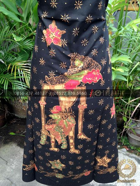 Bahan Baju Batik – Kain Batik Tulis Motif Wayang Bratasena Latar Hitam