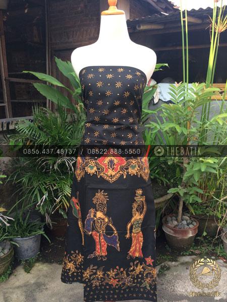 Bahan Dress Batik – Kain Batik Tulis Motif Mapeed Bali Latar Hitam