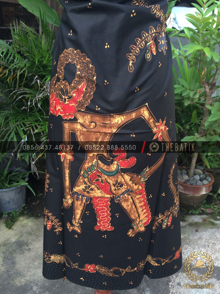Bahan Baju Batik – Kain Batik Tulis Motif Wayang Bima Latar Hitam