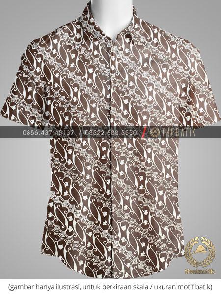 Kain Batik Bahan Seragam Motif Parang Coklat