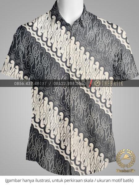 Kain Batik Bahan Baju Motif Parang Hitam Putih