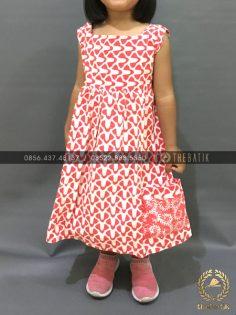 Model Dress Batik Modern Anak Perempuan Saku Pink