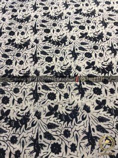 Kain Bahan Baju Batik Motif Udang Hitam Putih