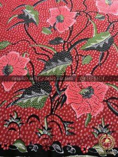 Kain Batik Tulis Buketan Bunga Besar Marun
