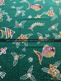 Kain Batik Tulis Flora Fauna Motif Ikan Hijau