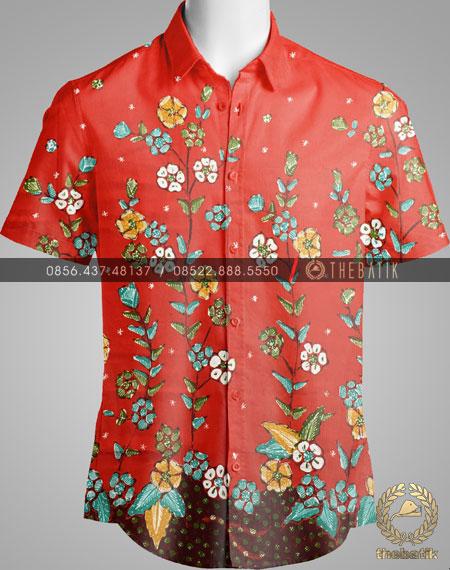 Kain Batik Tulis Buketan Floral Merah Jingga