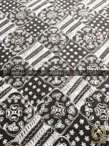 Kain Batik Tulis Warna Alam Motif Ceplokan Coklat Putih