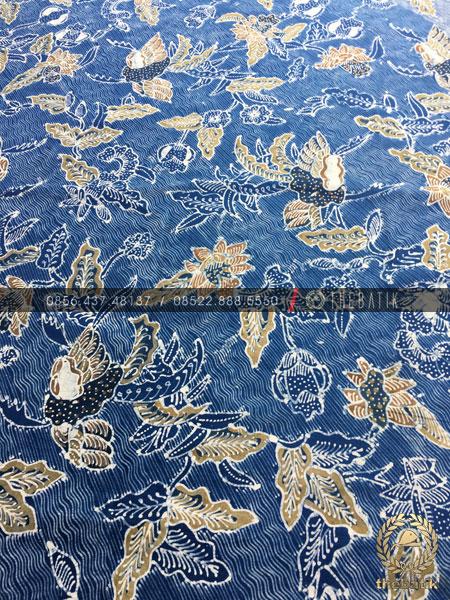 Kain Batik Tulis Warna Alam Motif Floral Galaran Biru
