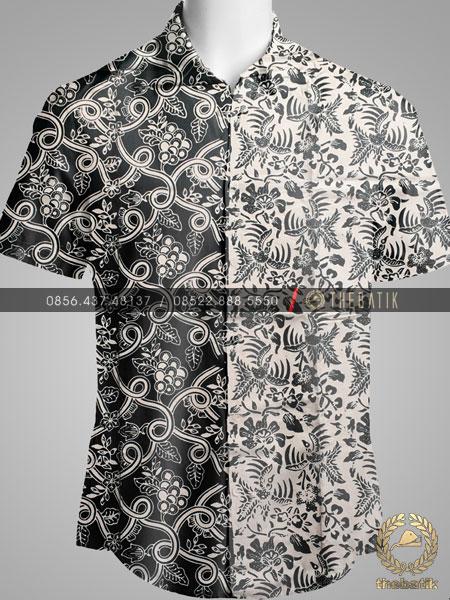 Kain Bahan Baju Batik 2 Motif Anggur Burung Hitam Putih