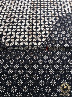 Bahan Kain Batik 2 Motif Kawung Kembang Tanjung Hitam Putih