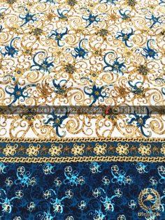 Kain Batik Meteran Bahan Halus Motif Dayak Putih Biru