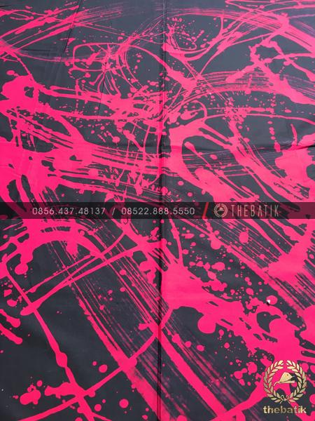 Kain Batik Abstrak Lukis Black Pink Hitam