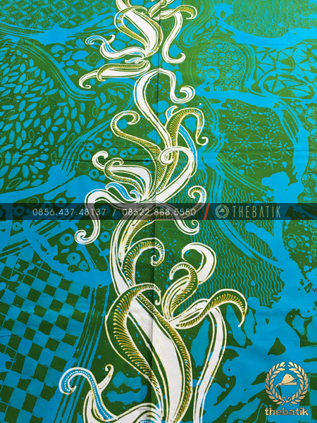 Kain Batik Kontemporer Lukis Bouquet Hijau Biru