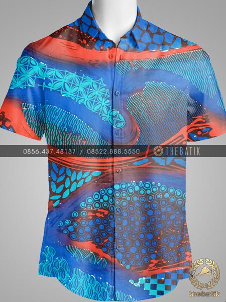 Kain Batik Modern Kontemporer Biru Merah