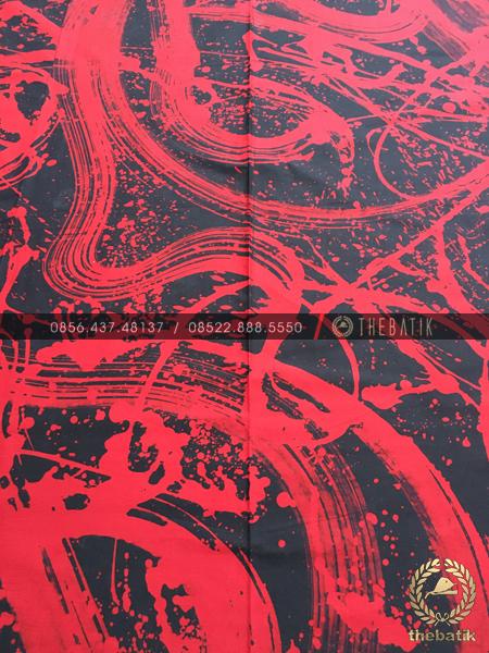 Kain Batik Modern Lukis Merah Hitam