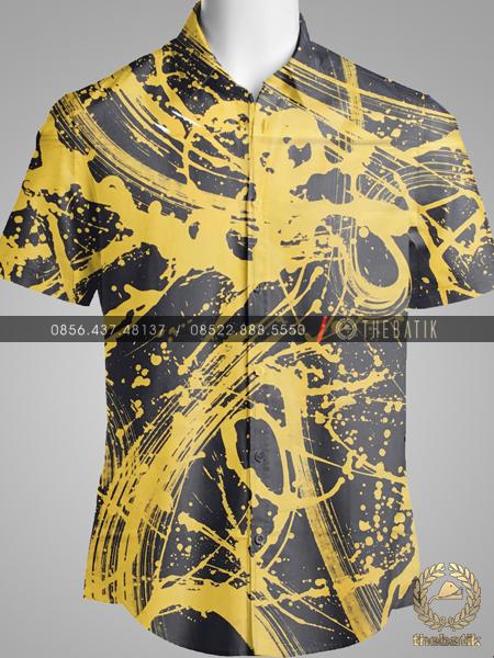 Kain Batik Abstrak Modern Kuning Hitam