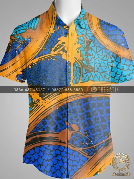 Kain Batik Modern Gradasi Biru Tosca Emas