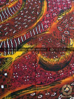 Kain Batik Kontemporer Gradasi Merah Coklat Sogan