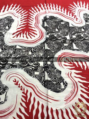 Kain Batik Abstrak Kontemporer Merah Putih Hitam