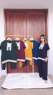 Baju Setelan Celana Panjang Renda Santung