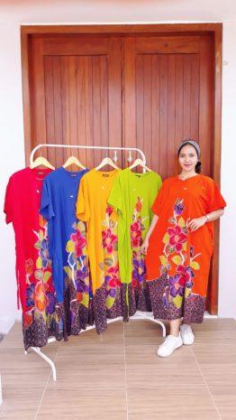 Daster Batik Jumbo Lengan Pendek Cantik