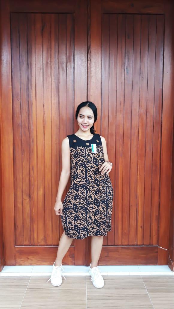 Daster Batik Tanpa Lengan Bahan Santung