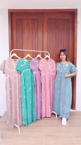 Dress Batik Cap BCL Lengan Pendek