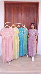 Dress Batik Cap Bahan Santung Model BCL