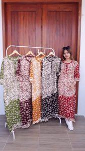 Long Dress Batik Cap Santung Lengan 3/4