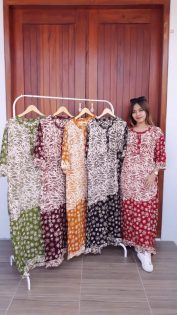 Long Dress Batik Cap Santung Lengan 3/4