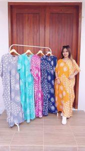 Long Dress Batik Kalong Lengan Pendek